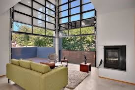 Wonderful Sliding Glass Garage Doors In Gallery Modern Living Room With Two Throughout Models Design