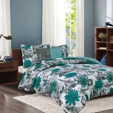 paris bedding twin or fullqueen comforter bed set eiffel tower teal flower full