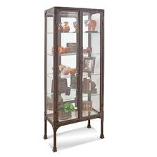 Metal glass cabinet Apothecary Curio Quickview Wayfair Glass Metal Display Cabinets Youll Love Wayfair