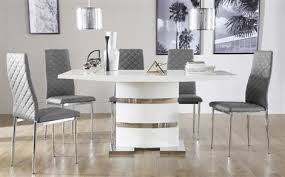 white dining room table. Komoro White High Gloss Dining Table With 4 Renzo Grey Chairs Room N