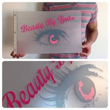 custom makeup artist portfolio book with vinyl decal treatment on frosted clear acrylic