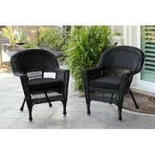 black wicker furniture. Burrowes Wicker Chair With Cushion Set Of Intended Black Furniture