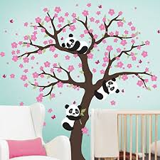 sinesshop panda and cherry blossom tree wall decal removable vinyl window room wall stickers animal decal on panda wall art uk with sinesshop panda and cherry blossom tree wall decal removable vinyl