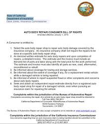 automotive repair complaints california auto body repair consumer bill of rights diminished