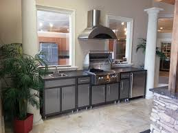 outdoor modular kitchen with vent hood