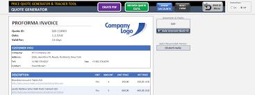 Price Quote Template Excel Proforma Invoice Generator Tracker Tool Best Price Quote Template