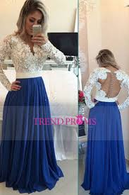 Royal Blue Lace V Neck Popular Evening Dress With Long Sleeve Pearl Belt Long Prom Dresses Soo Pretty