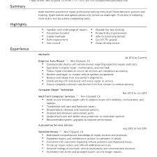 Sample Resume Auto Mechanic Auto Mechanic Resume Examples Skinalluremedspa Com
