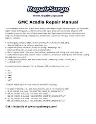 2007 gmc acadia engine diagram 2007 image wiring gmc acadia repair manual 2007 2011 on 2007 gmc acadia engine diagram