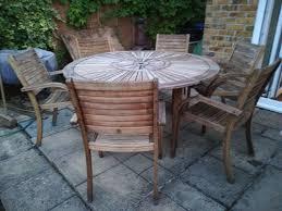 hardwood 5ft 153 cm round garden table 6 chairs in lyneham wiltshire gumtree
