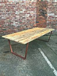 reclaimed industrial chic 8 10 seater dining table copper bar cafe restaurant furniture steel solid wood metal made to mere 089