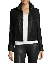 Neiman Marcus Pearlized Quilted Leather Jacket &  Adamdwight.com