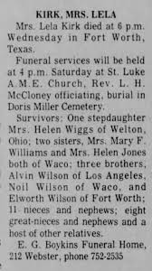 Obituary for LELA KIRK - Newspapers.com
