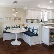 banquette furniture with storage. Share Your Breakfast In Charming Kitchen Banquette: Banquette With Ikea Bench Storage And Tulip Table Also Glass Pendant Lighting White Furniture B