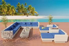 white wicker patio furniture with cushions in horizon blue