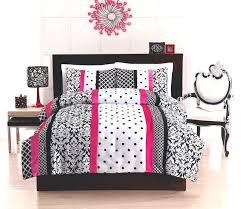 Elegant Black White Hot Pink Teen Girl Bedding Twin Full Queen ... & Elegant Black White Hot Pink Teen Girl Bedding Twin Full Queen Comforter  Set Damask Scroll Polka Adamdwight.com