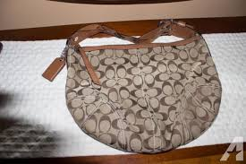 Medium Sized Coach Hobo with Signature Print on Tan and