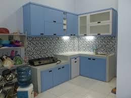 l shape furniture. Kitchen Set Bentuk L (L-Shape) Desain Warna Biru Handle Tanam - Furniture Shape