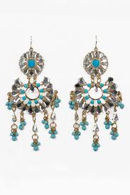 large turquoise crystal and gold fashion earrings