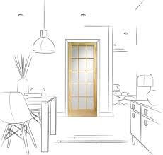 sa77 15 light internal knotty pine door with flemish glass lifestyle line drawing