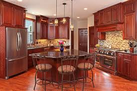 craftsman kitchen with cherry wood cabinet finish