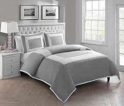 king size removable duvet cover set in grey embroidered hotel styling b01m9f39xh