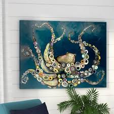 octopus in the navy blue sea framed on canvas on navy blue and teal wall art with navy blue canvas wall art wayfair