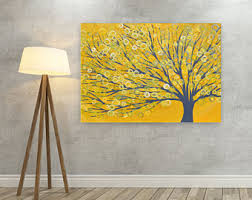 wonderful ideas yellow and grey wall art gray etsy canvas picture tree print abstract on framed on grey and mustard yellow wall art with yellow and grey wall art arsmart fo