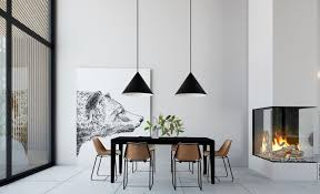 the dining room design of this modern house boasts an industrial pendant lamp that provides a personalized and refined atmosphere