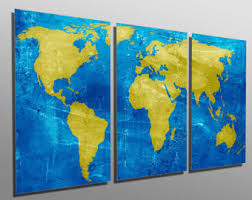 blue and yellow metal wall art