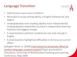 effective transition in language learning olga gomez cash ppt  sixth formers were more confident mismatch in essay writing ability in english between al and