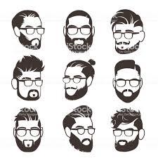分離ベクトル アバターの口ひげと現代の男性髪型顔ハンサムなひげを