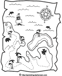 Small Picture Pirate Treasure Map Coloring Page Printable
