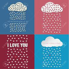 Colorful Paper Hearts From Paper Cloud With Drop Shadows Vector