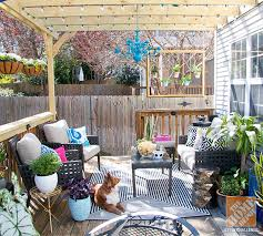 outdoor deck furniture ideas. Patio Decorating Ideas: Deck With Pergola, Lights, Colorful Patio Furniture  And Outdoor Rug Deck Ideas D