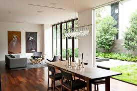 image of crystal linear chandelier dining room
