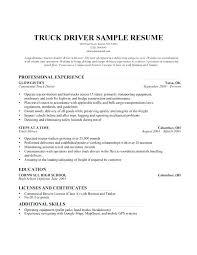 Resume Truck Driver Position Dump Truck Driver Resume Truck Driver Sample Resume Sample Resume