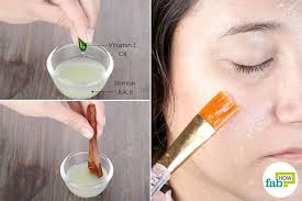 apply a blend of lemon juice and vitamin e oil to lighten oily skin