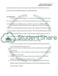 using of tidal model of mental health nursing essay using of tidal model of mental health nursing essay example