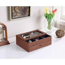 brown leather tempered glass men valet box