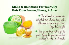 make a hair mask for your oily hair from lemon honey aloe
