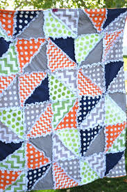 Boy Rag Quilt in Polka Dot and Chevron, Gray, Green, Orange, and ... & Items similar to Boy Rag Quilt Pattern-Triangle Dash with Car Seat Tent  Instructions -Triangle Rag Quilt Pattern -Half Square Triangle HST Baby  Quilt ... Adamdwight.com