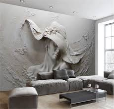 Custom Wallpaper 3d Stereoscopische Reliëf Grijs Beauty 3d