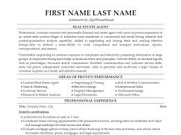 Resume Template For Real Estate Agents Real Estate