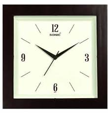 brown square shape plastic wall clocks