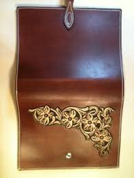 hand tooled leather or book cover by westernleatherco