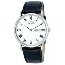 gents stainless steel eco drive watch leather strap bm8240 11a