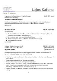 Biostatistician Resume