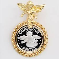 999 pure silver guardian angel coin 14mm in solid 14kt gold guardian angel pendant