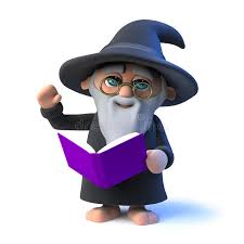 3d funny cartoon wizard character reads from his book magic spells stock ilration ilration